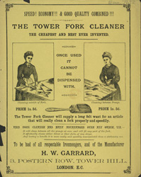 Advert For H. W. Garrard's Tower Fork Cleaner